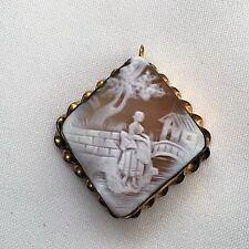 Rare Antique Victorian 19th Century Gold Shell Cameo Brooch Pin Pendant