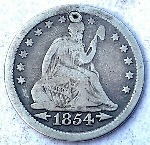 USA Seated Liberty Silver Quarter 1854 - Holed