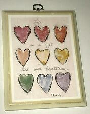 "Antique Flavia Art Wall Hanging, ""Life is a gift tied with heartstrings"" 8"" x 6"""