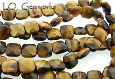 "15.5""  Strand TIGER EYE 10mm Faceted Square Beads"