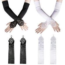 Female Dress Fingerless Lace Gloves Long Flapper Evening Party Opera Satin Glove