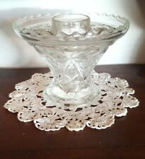 Anchor Hocking Star of David Prescut Depression Glass Footed Squat Vase and Frog