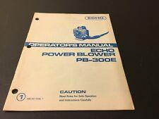 Echo Power Blower PB-300E Operator's Manual