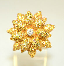 LEVIAN 14K GOLD FLOWER RING WITH WHITE DIAMOND & PAVÉ YELLOW TOPAZ PETALS SIZE 6