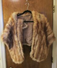 Vintage Mid-Century Tan Colored Natural Fur Wrap/Stole/Capelet ~ Needs some Tlc