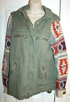 Thread & Supply Women's Olive Green Utility Jacket with Sweater Sleeves Sz L