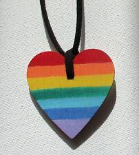 Handmade Lgbtqa Pride Vegan Cord Rainbow Heart Pendant Necklace Wood