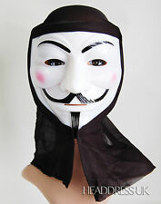 V For Vendetta PVC Mask with Hood Fancy Dress Bonfire Night Costume Party