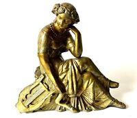 "Antique Art Nouveau Gold Spelter Clock Topper After Greek Godess ""Erato"""