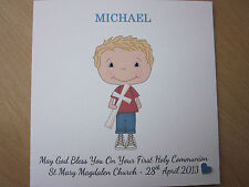 Personalised Handmade Boy's Confirmation or First Holy Communion Card