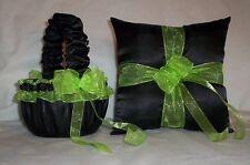 Black Satin / Apple Green Trim Flower Girl Basket & Ring Bearer Pillow #1