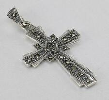 MARCASITE CROSS PENDANT 925 STERLING SILVER ARTISAN JEWELRY COLLECTION R659A