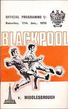 Blackpool v Middlesbrough Official Programme 17 January 1970