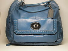 MINT Coach Teal Blue Expandable Patent Leather Detail Stitching Runway Handbag