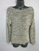 WOMEN ZARA KNIT BEIGE LONG SLEEVE KNIT CASUAL PULLOVER JUMPER SWEATER TOP SIZE S