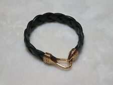 John Hardy Men's Bronze Black Leather Classic Chain Woven Bracelet Hook Clasp