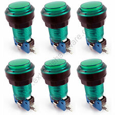 6 x 28mm Round 12v LED T10 Bulb Arcade Buttons & Microswitches (Green) - MAME