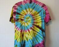 vtg Men's Men No Label TIE DYE TEE SHIRT t-shirt Blue and Yellow FITS XL Hippie