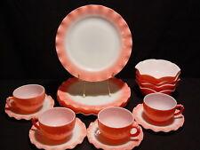 16 pc HAZEL ATLAS PINK Crinoline LUNCHEON Ruffle Plates Bowls Beaded Cups Minty