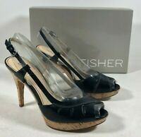 Marc Fisher MF Valma Black Leather Peep Toe Heels Slingback Shoes Women's 7M NIB