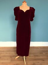 Vintage 70's Deep Red Velvet Maxi Dress Retro Boho Goth 14
