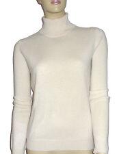 LUXE OH `DOR 100% Cashmere Rollkragen Pullover Luxus Classic weiß 42/44 M/L