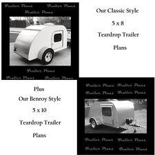 (2 Sets) Teardrop Trailer Plans 5x8 & 5x10 W/Instructions & Materials List. 60pg