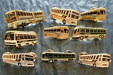 Assorted Lot of 9x Vintage Enameled Buses - Aerocar, Helie, Etc