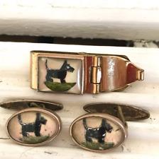 Intaglio Scottish Terrier Scottie Dog c1930 Vintage Art Deco Cufflinks Tie Clip
