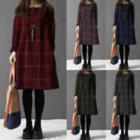 Mode Femme Grande Vérifier Manche Longue Col Rond Loose Droit Jupe Robe Plus