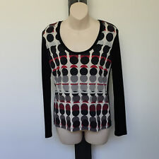 FEATHERS' (F LINE)  EC SIZE '10' SILKY STRETCH BLACK PATTERNED TOP
