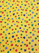 "Fabric Cotton Yellow Buttons Hearts Stars 1.75 yard Quilting Sewing 45"" wide"