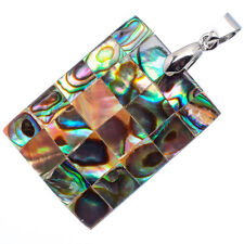 """Mother of Pearl Natural Abalone Sea Shell Rectangle Pendant 1 1/4"""" Jewelry #09-Z"""