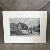 1890 Antique Print Russia Old Russian Village Farm Rural Landscape View