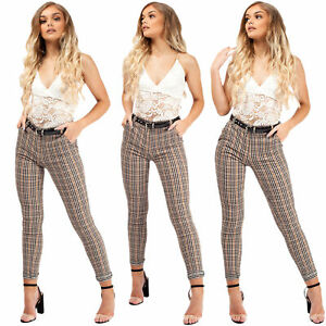 Womens Belted Check High Waist Stretchy Trousers Ladies Skinny Cigarette Pants