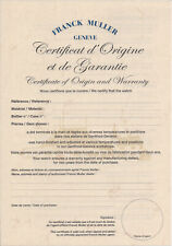 of Origin and Warranty large Genuine Authentic Franck Muller Geneve Certificate