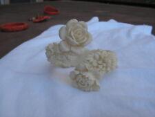 ...Art Deco Off-White Celluloid Floral Flowers Bypass Bracelet...