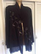 Designer Nitya Elegant Black Jacket w Pewter Black Embroidery Long Sleeves Sz 18