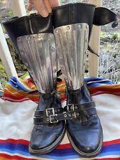 Vtg Black Motocross Boots 70s 80s 8 Punk Motorcycle Bondage
