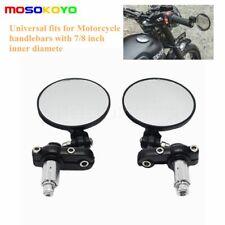 Universal Motorcycle Black Round 7/8 in Handle Bar End Mirrors For Honda Suzuki