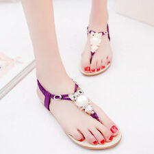 Ladies Womens Flat Owl Diamante Summer Party Comfy Toe Post Sandals Shoes Size