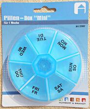 Pillenbox für 1 Woche, verschiedene Modelle, auch mit oder ohne Pillenteiler