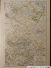 Landkarte der Provinz Sachsen, Mecklenburg und Anhalt, Lithographie 1886