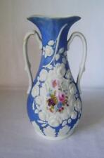C19th Parian Fine White Porcelain Vase Blue Ground with enameled flowers C.1850
