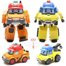 2Pcs Robocar POLI Mark Bucky Car Transformer Robot Figure Kid Christmas Toy Gift