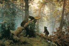 Hand painted Oil painting Shishkin Levitan wild animals black bears in forest