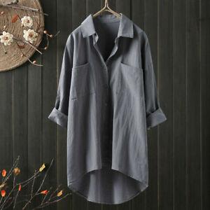 Summer Womens Cotton Linen Long Sleeve Tops Baggy T Shirt Tops Blouse plus size