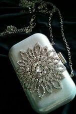 NEW Silver Box Clutch Crystal Handbag Chain Evening Bag Purse Formal Deb Wedding