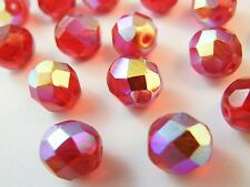 30pc 8mm Siam Red AB Plate Fire Polish Czech Glass Faceted Round Beads (fc809)
