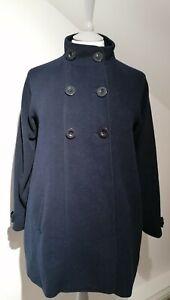 Jojo Maman Bebe Uk 10 Maternity Coat Navy Blue Swing 50% Wool High Neck